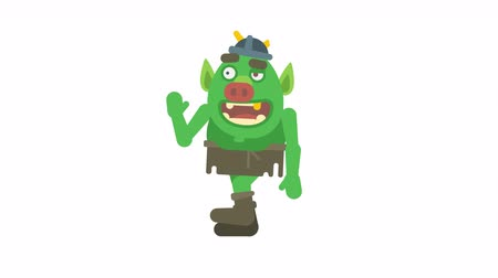 manó : Troll character walking waving hand and smiling. Alpha channel. Loop animation. Motion graphics Stock mozgókép
