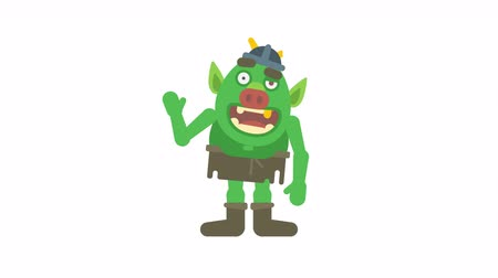mascot : Troll character waving hand and smiling. Alpha channel. Loop animation. Motion graphics