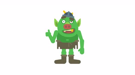 manó : Troll character points finger and shows finger up. Transparent background. Loop animation. Motion graphics