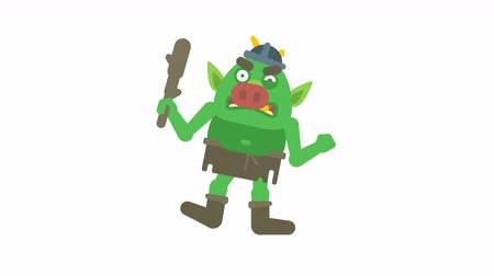 manó : Troll character holding club and angry. Transparent background. Loop animation. Motion graphics Stock mozgókép