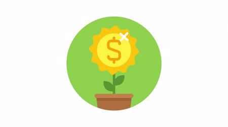 Business icon money flower dollar sign. Animation icons. Transparent background. Loop animation. Motion graphics Dostupné videozáznamy
