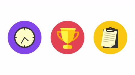 pictograma : Business icons clock cup document. Animation icons. Transparent background. Loop animation. Motion graphics Stock Footage