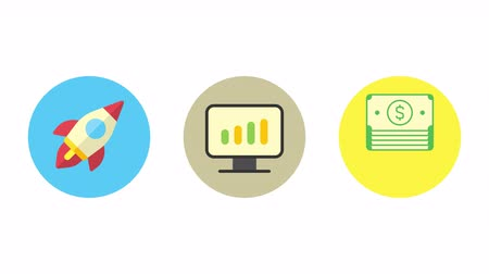 Business icons rocket monitor with business graph money. Animation icons. Transparent background. Loop animation. Motion graphics