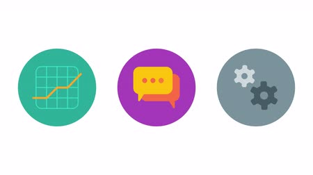 Business icons chart comments gears. Animation icons. Transparent background. Loop animation. Motion graphics