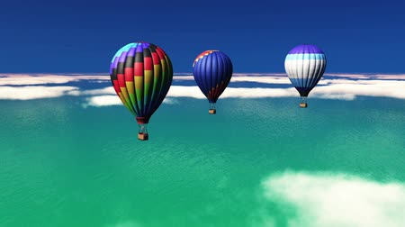 balonlar : hot-air balloons rising Stok Video