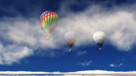 levegő : hot-air balloons rising Stock mozgókép