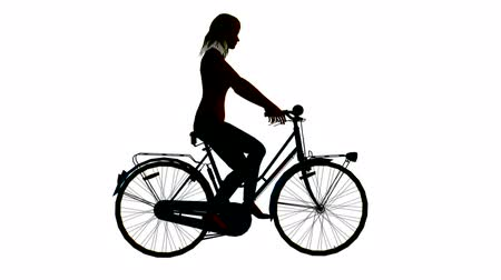 bicycle : silhouette of woman Stock Footage