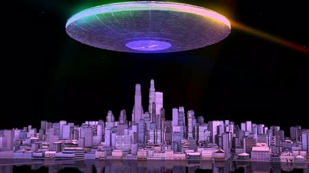 zanaat : UFO flies over city Stok Video