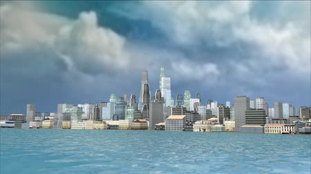 3D CG rendering of cityscape Stock Footage
