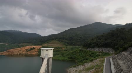 australian landscape : Timelapse high angle aerial view the Mengkuang Dam at Bukit Mertajam. Nature with forest nearby. Stock Footage