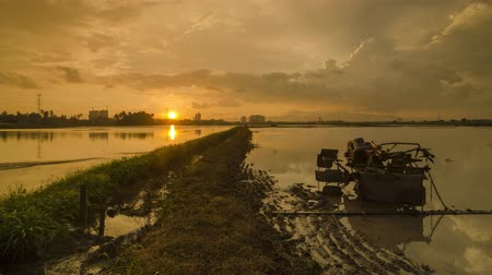 plowed land : Timelaps silhouette tractor in the paddy field from day to night. Beautiful moving cloud after raining day.