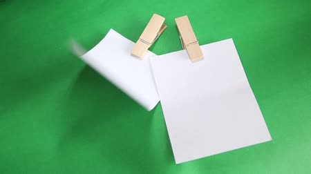 rasgado : The paper notes with clip on green background.