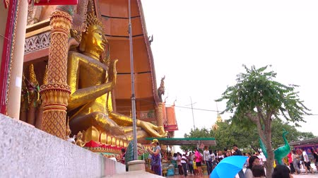 Канчанабури : KANCHANABURI, THAILAND - JANUARY 16 attractions Religious Thai People make merit give on JANUARY 16, 2016 in wat thumsua, Thailand. Стоковые видеозаписи