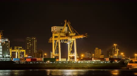 перевозка груза : Time lapse Cargo ship loading goods at shipping port at night. Стоковые видеозаписи