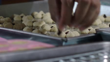 professionally : Put the cookies on the Raisins, before the candy oven. Stock Footage