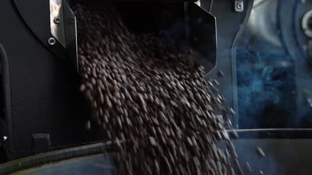 roaster : coffee bean are cooling down on coffee roaster machine Stock Footage
