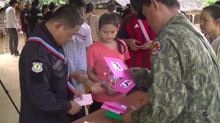 mianmar : Evacuation centers in thailand. myanmar people emigrant to evacuation center in thailand because war Stock mozgókép