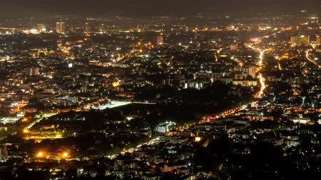 Time-lapse Day to night: View of Chiang Mai City in Thailand