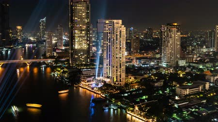 metropoli : An aerial view of  Bangkok cityscape including Chao Phraya River during night time, Time lapse 4K
