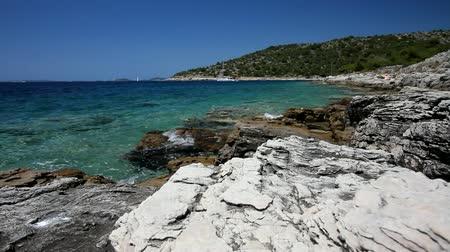 Острова : Croatia - beautiful Mediterranean coast landscape in Dalmatia. Murter island beach - Adriatic Sea.
