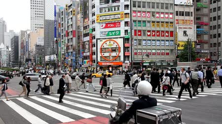 kanto district : TOKYO - MAY 8: Commuters hurry on May 8, 2012 in Shinjuku district, Tokyo. Shinjuku is one of the busiest districts of Tokyo, with many international corporate headquarters located here. Stock Footage