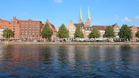 trave : Lubeck in region Schleswig-Holstein, Germany. Hanseatic City. Old Town water reflection.