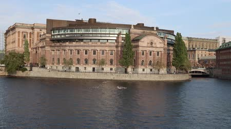 stockholm : Riksdag (Parliament of Sweden) building in Stockholm. Sunset light.