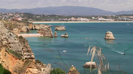 lagos : Portugal Atlantic coast landscape footage in Algarve region.
