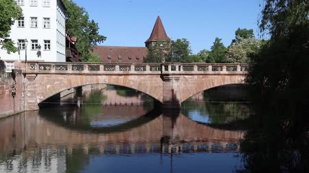 bajor : Nuremberg city, Germany - River Pegnitz and bridge.