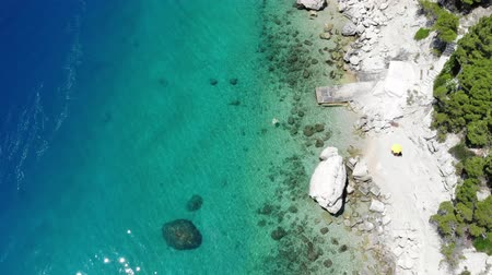 hırvat : Dalmatia drone view - Croatia aerial coast landscape photo. Beaches and coast of Mimice.