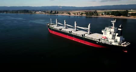 transporte de mercancias : Aerial View of a Bulk Carrier in a Big Body of Water