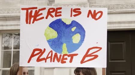 there : London, UK - October 12th, 2019 : There is No Planet B Protest Sign, Close up of a sign reading There is no planet B at a protest in London, UK.