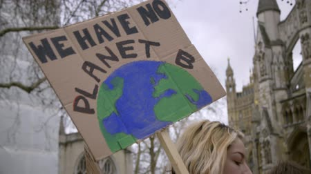 there : London, UK - October 12th, 2019 : We Have No Planet B Protest Sign, Woman Carrying a sign reading We Have no Planet B at a climate change protest in London, UK. Stock Footage