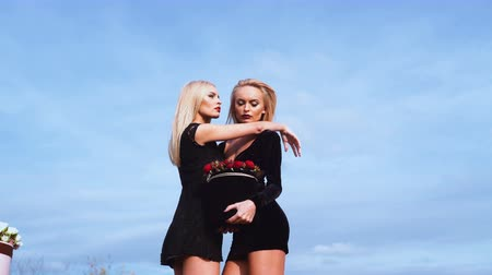 fame : Sexy twins. Twins. Two sexy girl or woman with red roses. Stock Footage