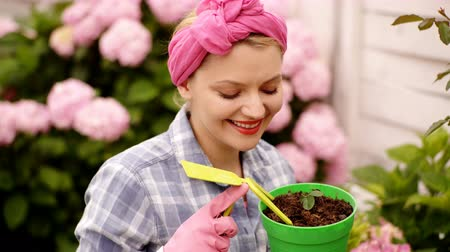 ortanca : Happy woman taking care of flowers in garden. Planting pots. Woman gardening in pots. Plant care. Gardening is more than hobby. Lovely housewife with flower in pot and gardening set.