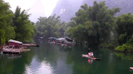 guangxi : The Hills and the river. Yangshuo. Guangxi. China. Stock Footage