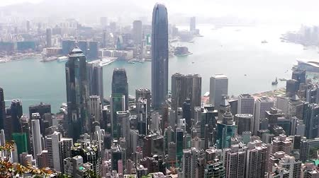 doruk : View of Hong Kong from Victoria Peak. Stok Video
