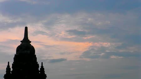 danu : Sunset sky and silhouette Ancient Temple of Borobudur. The island of Java. Yogyakarta. Indonesia. Stock Footage