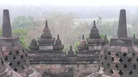 bratan : Ancient Temple of Borobudur. The island of Java. Yogyakarta. Indonesia. Stock Footage