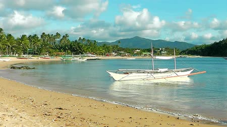 port n : Philippine village on the beach Nacpan. El Nido. The island of Palawan. Philippines. Stock Footage