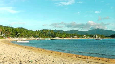 port n : Landscape of the beach of Nacpan. The island of Palawan. Philippines. Stock Footage