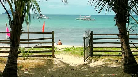 boracay : Landscape of the beach of Nacpan. The island of Palawan. Philippines. Stock Footage