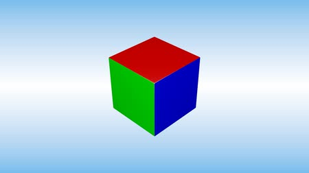 Colorful 3d cube is rotating on blue background.