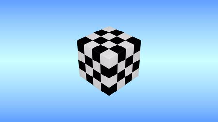 Black and white 3d cube is rotating on blue background.