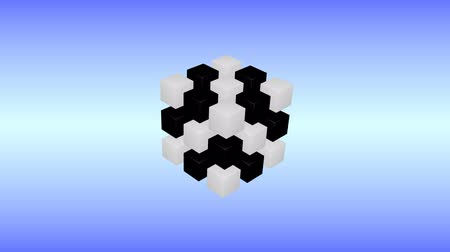 Black and white 3d cubes are rotating on blue background. Стоковые видеозаписи