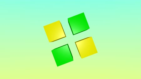 Top view of green and yellow 3d cubes animation on colorful background.