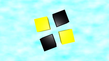 Top view of black and yellow 3d cubes animation on blue sky background. Стоковые видеозаписи