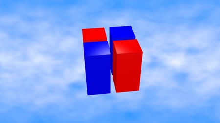 размеры : Red and blue 3d cubes animation on blue sky background.