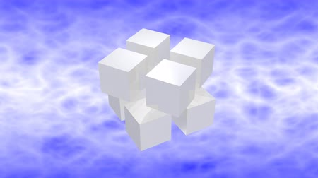 White 3d cubes animation with reflection on blue sky background. Стоковые видеозаписи