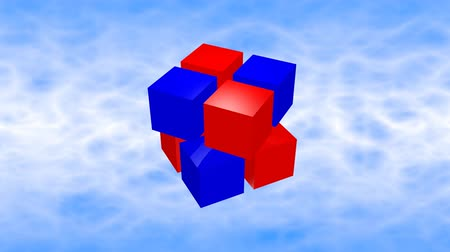 超現実的な : Red and blue 3d cubes animation on blue sky background.
